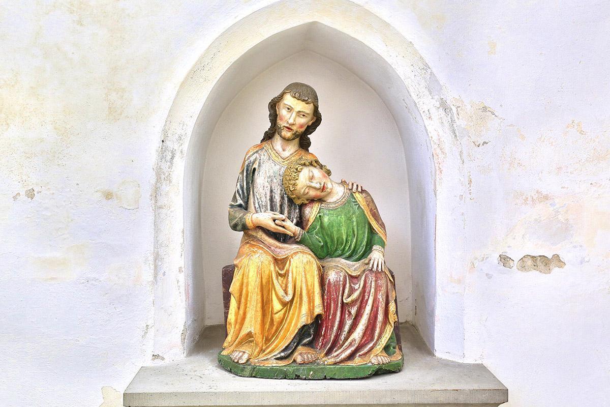 Christus-Johannes-Gruppe, Holz, um 1320, Klosterkirche St. Anna des Klosters Heiligkreuztal
