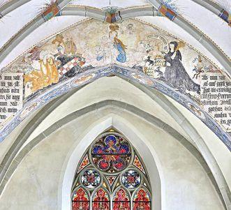 Spätgotische Malerei am Chorbogen in der Klosterkirche St. Anna des Klosters Heiligkreuztal