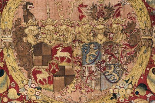 Wandteppich mit Allianzwappen der Hohenzollern um 1575