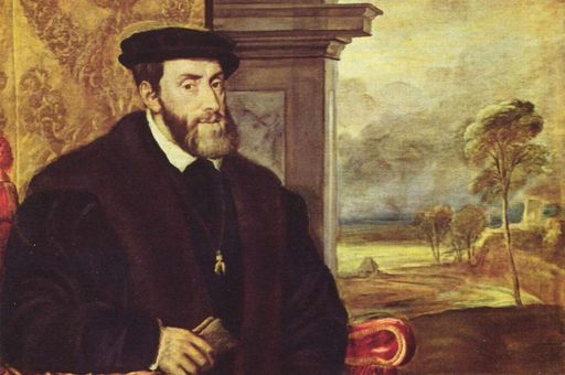 Gemälde von Kaiser Karl V.  von Tizian, wird heute Lambert Sustris zugeschrieben