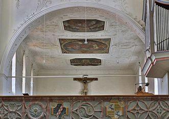 Detail der Verzierung der Nonnenempore in der Bruderkirche des Klosters Heiligkreuztal