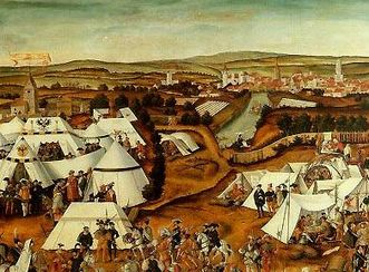 Gemälde mit einer Darstellung des Schmalkaldischen Krieges von Mathias Gerung aus dem Jahr 1551