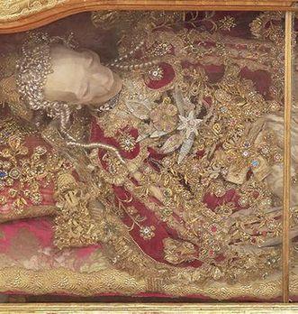 Detail eines Katakombenheiligen im Museum in der Bruderkirche des Klosters Heiligkreuztal; Foto: Staatliche Schlösser und Gärten Baden-Württemberg, Markus Schwerer