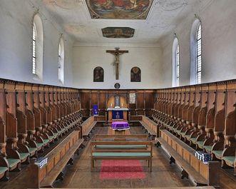 Nonnenempore mit Chorgestühl in der Bruderkirche des Klosters Heiligkreuztal