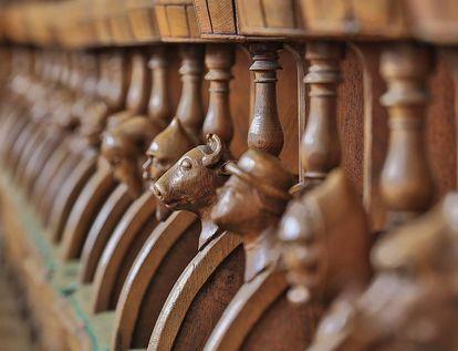 Detail des Chorgestühls der Nonnenempore in der Bruderkirche des Klosters Heiligkreuztal; Foto: Staatliche Schlösser und Gärten Baden-Württemberg, Markus Schwerer